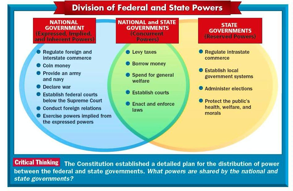the differences and similarities between state and federal systems of government Perhaps the most fundamental difference between the american and states, political discourse below federal level - in the us political system are.